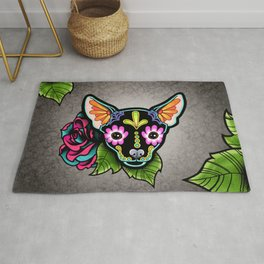 Chihuahua in Black - Day of the Dead Sugar Skull Dog Rug