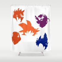 vegeta Shower Curtains featuring Z Fighters by luvusagi