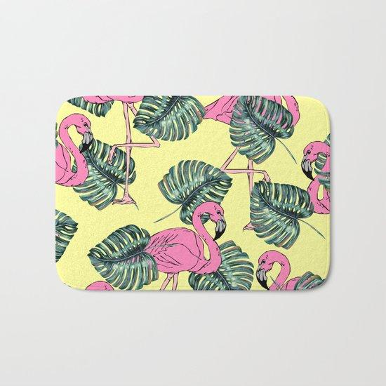tropical leaves with flamingo Bath Mat