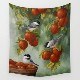 Chickadees and Apple Tree Harvest Wall Tapestry