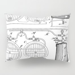 Brewery Patent - Beer Art - Black And White Pillow Sham