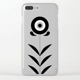 Retro Nordic Black & White Clear iPhone Case