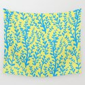 Yellow and Blue Floral Leaves Gouache Pattern by polkadotsempire
