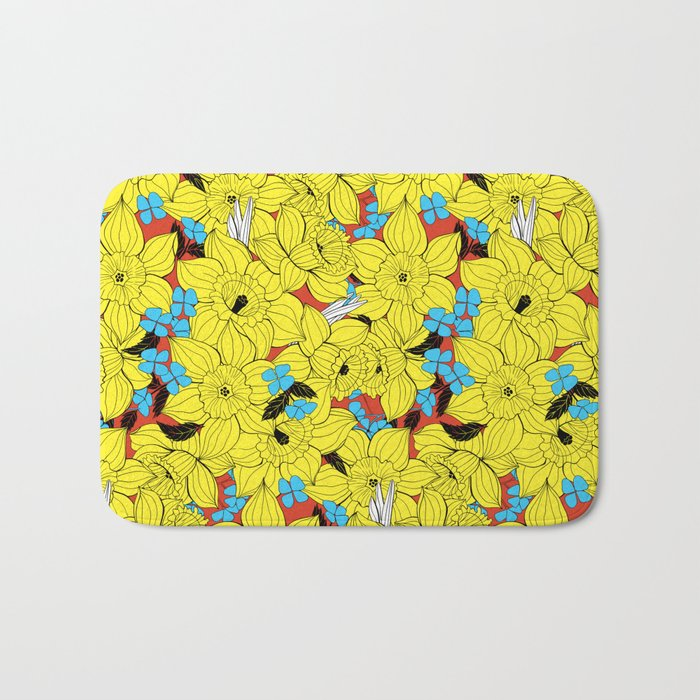 Daffodils spring floral pattern Bath Mat
