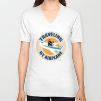 airplane V-neck T-shirts featuring Airplane by BATKEI