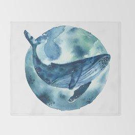 blue moon whale Throw Blanket