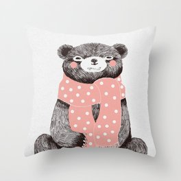 OSO, the bear with the big scarf.  Throw Pillow