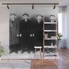 The Syndicate - 'Lucky' Luciano & New York gangsters Ed Diamond, Jack Diamond, & Fatty Walsh black and white photography / photographs Wall Mural