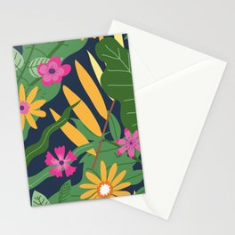 Decorative tropical or exotic blossom of plants. Blooming flowers with lush leaves Stationery Cards