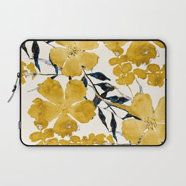 Seamless Pattern Rustic Yellow Autumn Flowers Warm Watercolor Painting Tones Decaying Beauty Bohemian Boho Style Laptop Sleeve