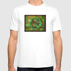 The Peacock Dream In Gold Mens Fitted Tee MEDIUM White