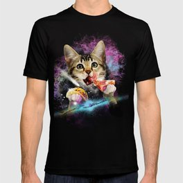 Galaxy Cat Rules Space With Taco And Pizza Power Gift print T-shirt