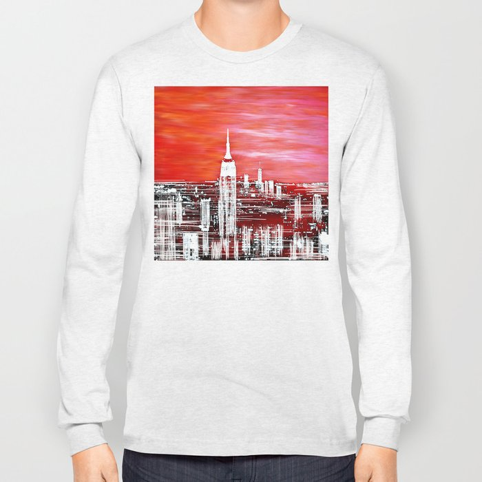 Abstract Red In The City Design Long Sleeve T-shirt