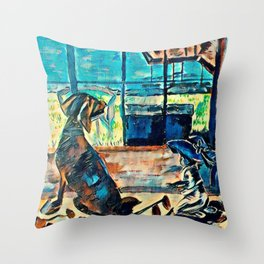 Untold Otter Tail Lake Cabin Stories - Dog and Baby Throw Pillow