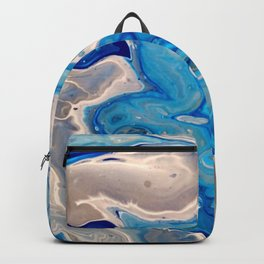 Blue and Silver Fluid Abstract - Silver Lining Backpack