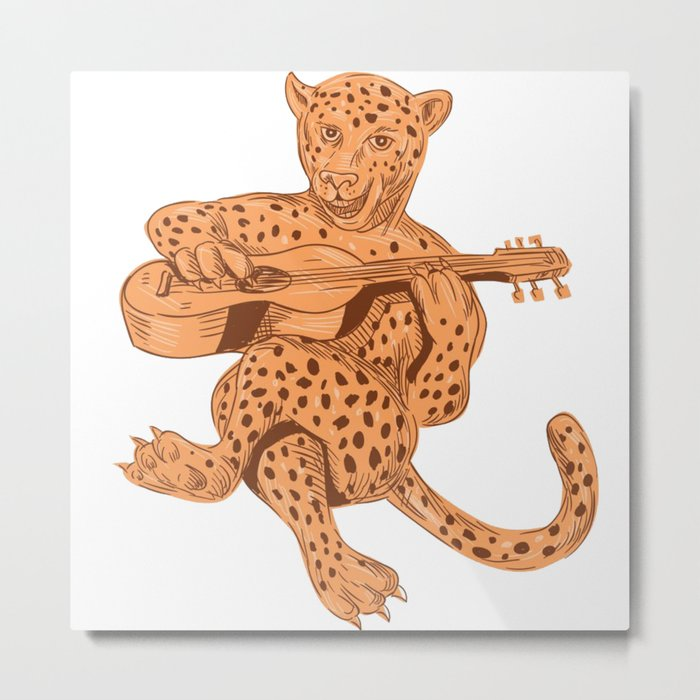Jaguar Playing Guitar Metal Print