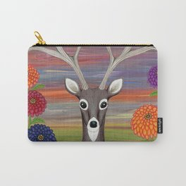 white tailed deer, owl, zinnias Carry-All Pouch