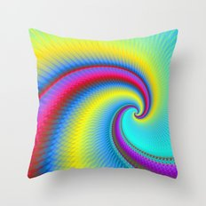 Big Wave in Yellow Turquoise and Red Throw Pillow