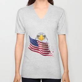 USA Flag with Eagle Low Poly art Unisex V-Neck