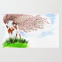 sakura Area & Throw Rugs featuring Sakura by DogoD Art
