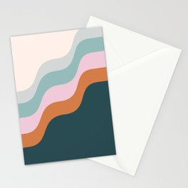 Abstract Diagonal Waves in Teal, Terracotta, and Pink Stationery Cards
