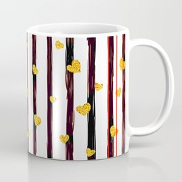 Gold Glitter Hearts on Black and Red Stripes Coffee Mug