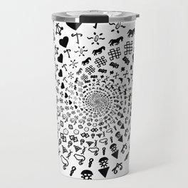 Love Symbol Mandala Black on White Travel Mug