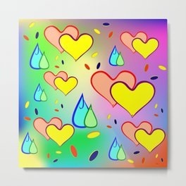 Cheerful drops and heart. The background color or pattern of drops and hearts on iridescent backgrou Metal Print