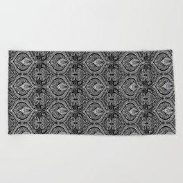 Simple Ogee Black & White Beach Towel