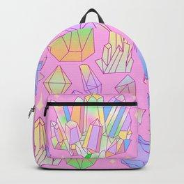 Pastel Goth Crystal Cluster Pattern Pink & Blue Backpack