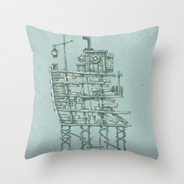 my ship in the port Throw Pillow