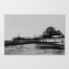 White Noise Santa Monica Pier Canvas Print
