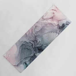 Blush and Payne's Grey Flowing Abstract Painting Yoga Mat