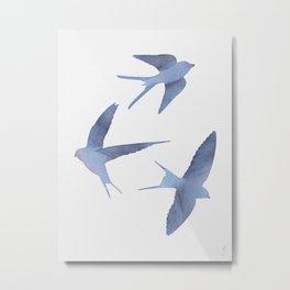 Watercolor Swallows/ Birds in Flight Metal Print