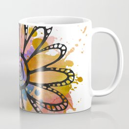 GC031-2 Colorful watercolor doodle flower mustard and purple Coffee Mug