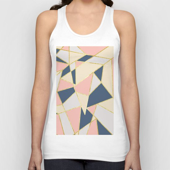 Girly Geometric Triangles with Faux Gold by blackstrawberry