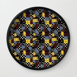90's Patchwork Fabric Wall Clock
