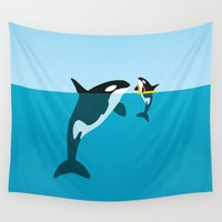 orca Wall Tapestries featuring Orca by WyattDesign
