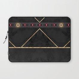 Golden Sun Mandala Ruby Flowr over BlackMarble Laptop Sleeve