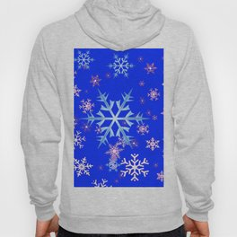 DECORATIVE BLUE  & WHITE SNOWFLAKES PATTERNED ART Hoody