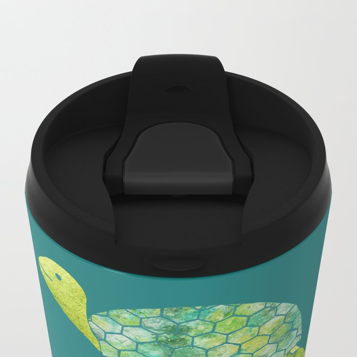 Turtle Stack Family in Teal and Lime Green Metal Travel Mug