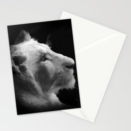Wild White Lion Portrait Stationery Cards
