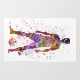 soccer football player young man standing defiance  Rug
