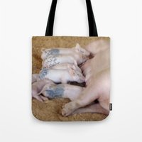 piglet Tote Bags featuring Piglet Lunch by Tiffany Dawn Smith