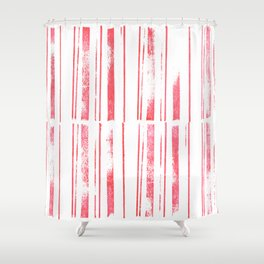 simple stamped scarlet stripes Shower Curtain