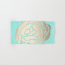 Rose in White Gold Sands on Tropical Sea Blue Hand & Bath Towel