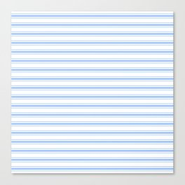 Mattress Ticking Wide Striped Pattern in Pale Blue and White Canvas Print