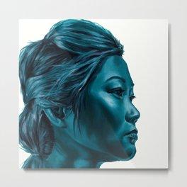 Blue elegant monochrome female portrait. Metal Print