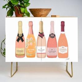 Rose Champagne Bottles Credenza