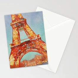 Blue orange painting of the Eiffel Tower in Paris, France.  France art Stationery Cards